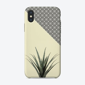 Dracaena Plant on Lemon and Lattice Pattern Wall iPhone Case