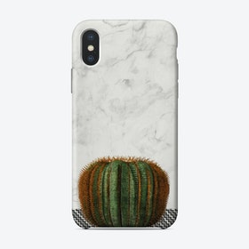 Cactus Ball on White Marble and Zigzag Wall iPhone Case