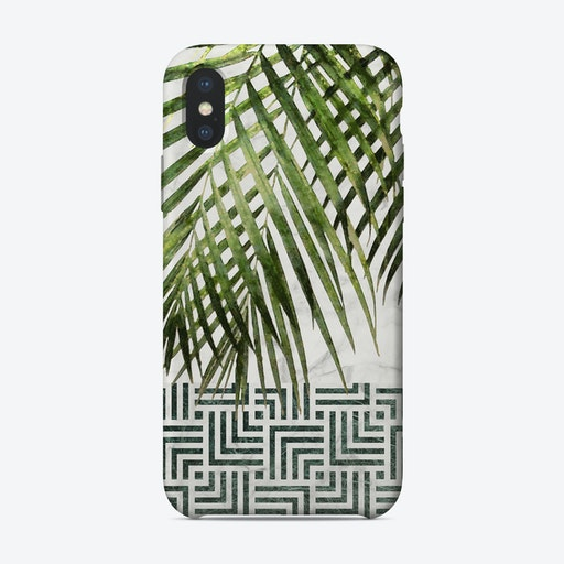Palm Leaves on White Marble and Tiles iPhone Case