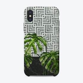 Monstera Leaves on Black Marble and Tiles iPhone Case