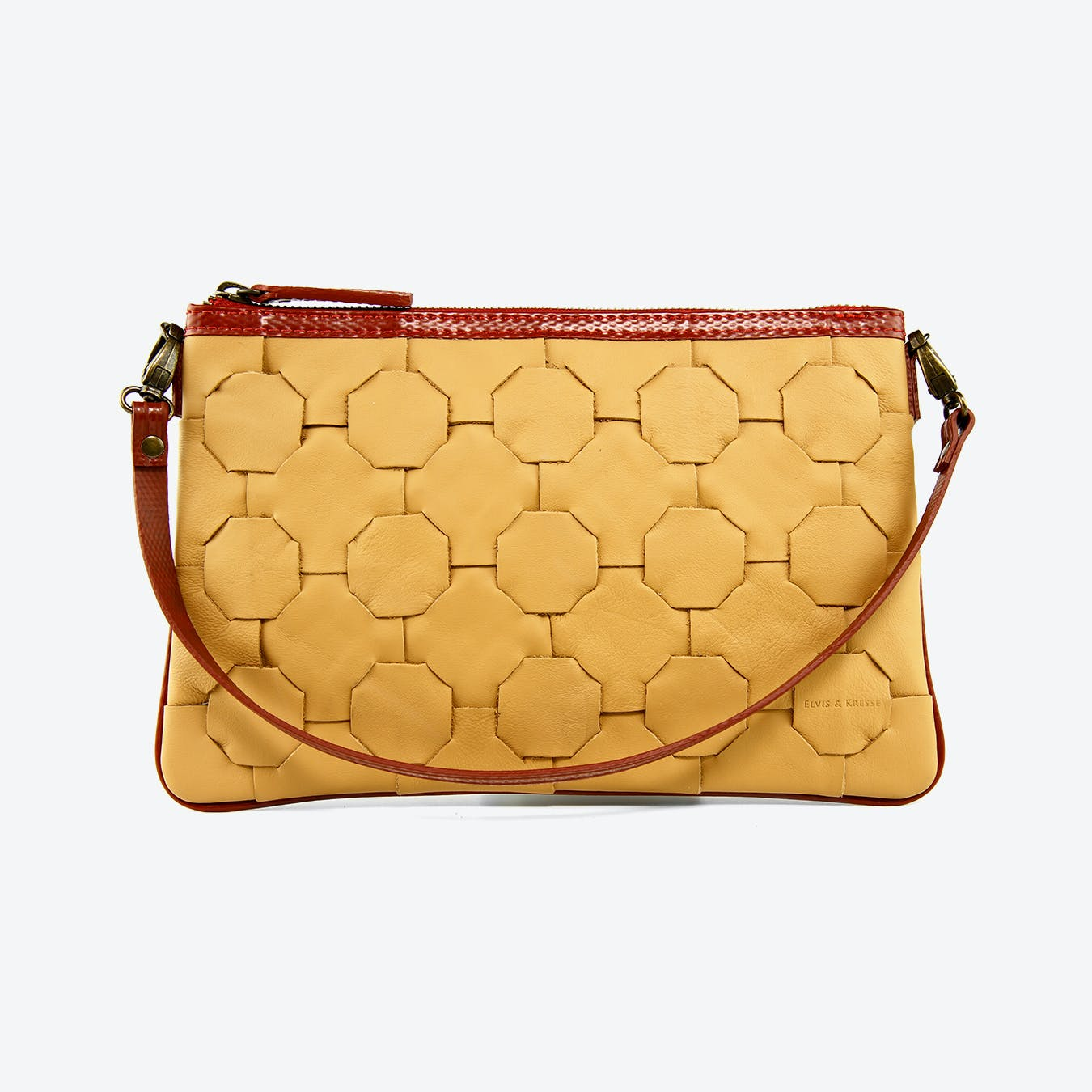 Fire & Hide Clutch Bag in Tan Burberry Leather
