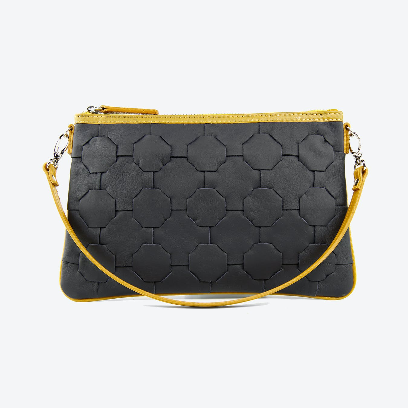 Fire & Hide Clutch Bag in Navy Blue Burberry Leather & Yellow Fire-Hoses