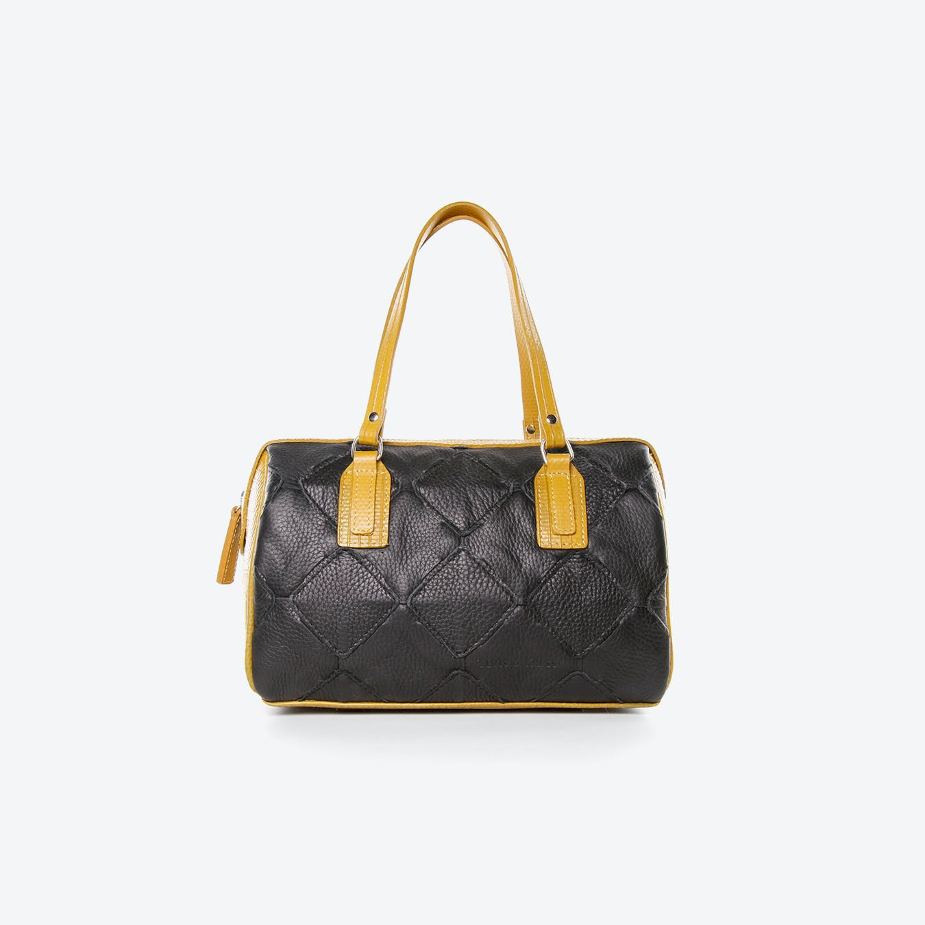 Post Bag  Fire Hide in Black Burberry Leather And Yellow Fire-Hoses