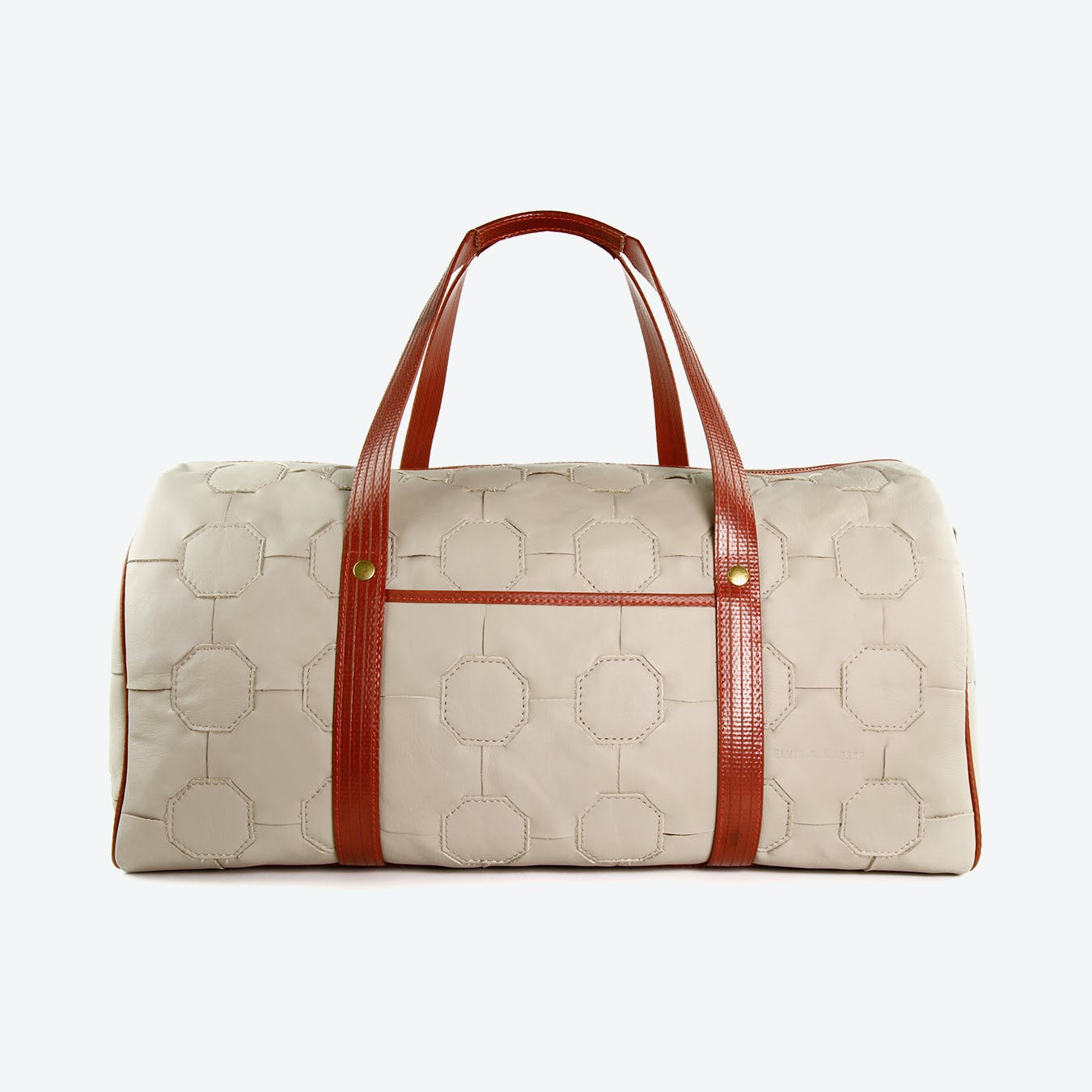 Fire & Hide Duffel Bag in Grey Burberry Leather & Red Fire-Hoses