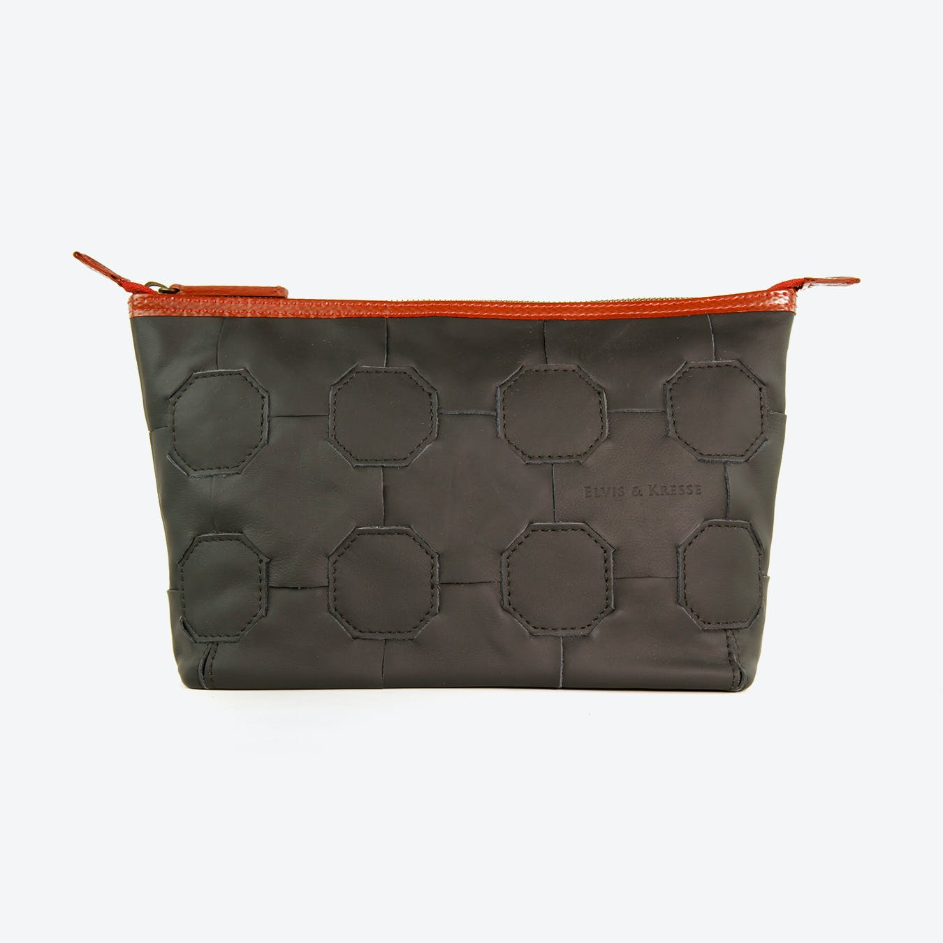 Fire & Hide Cosmetics Case in Black Burberry Leather