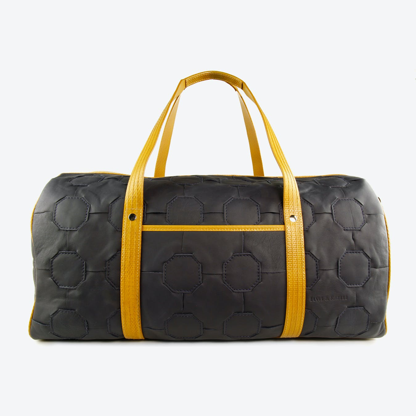 Fire & Hide Duffel Bag in Dark Blue Burberry Leather & Yellow Fire-Hoses