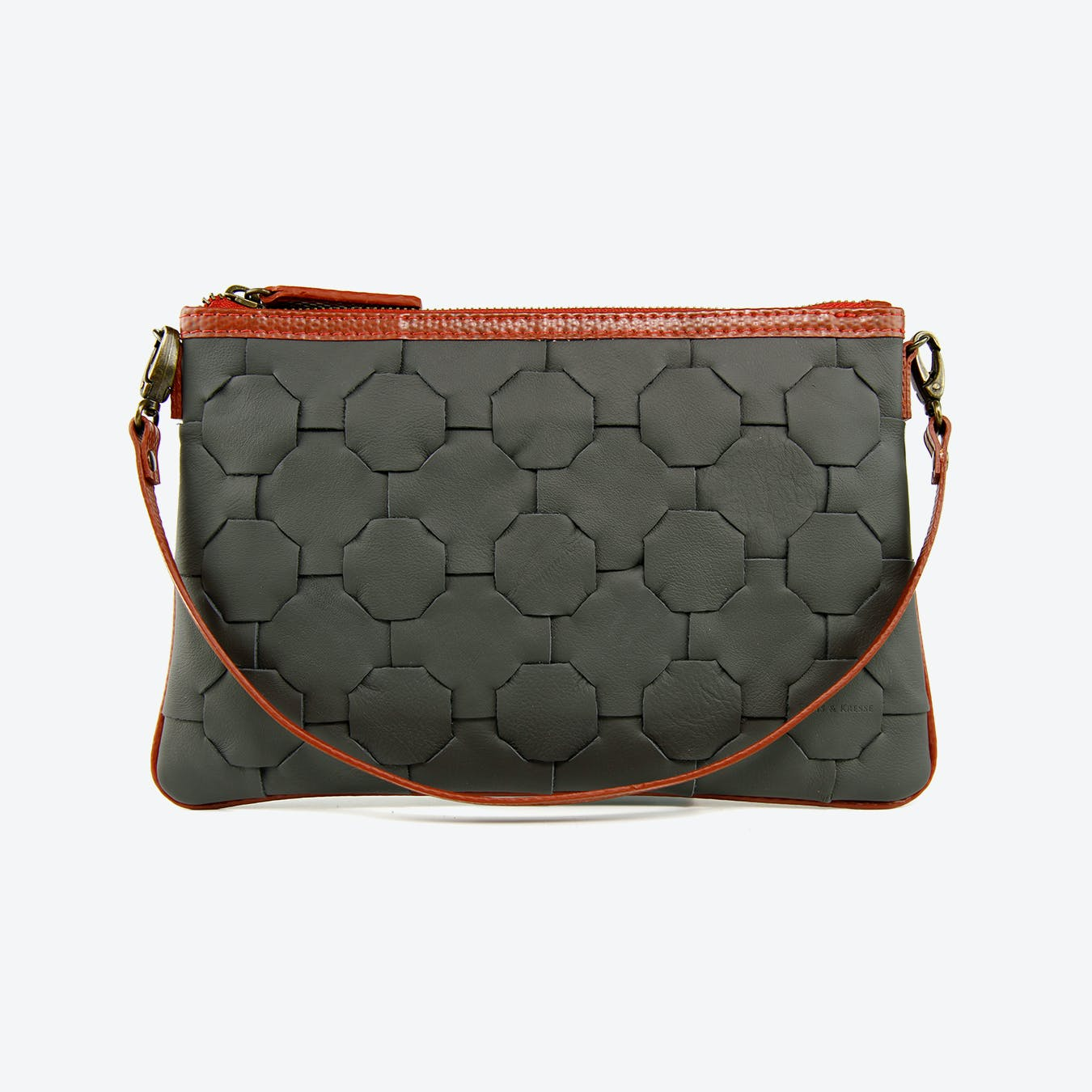 Fire & Hide Clutch Bag in Black Burberry Leather