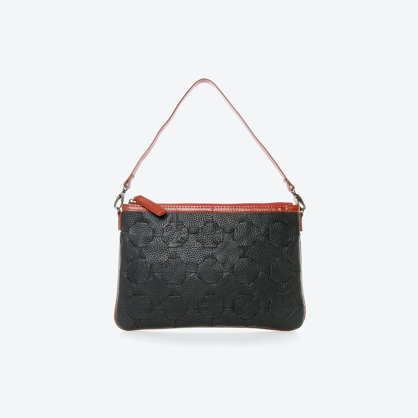 Fire & Hide Clutch Bag in Black Burberry Leather & Red Fire-Hoses