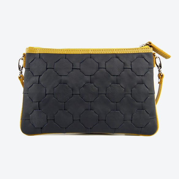 25454aab1478 Fire   Hide Clutch Bag in Navy Blue Burberry Leather   Yellow Fire-Hoses by  Elvis   Kresse
