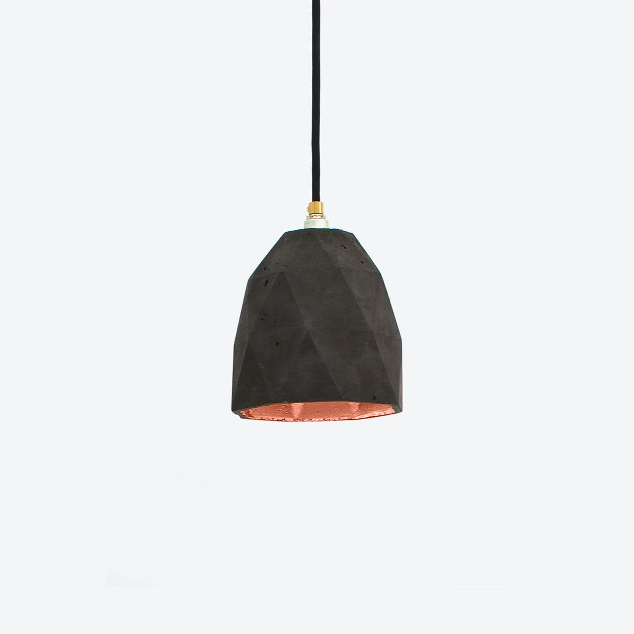 Concrete Pendant Light Triangle T1 in Dark Grey and Copper