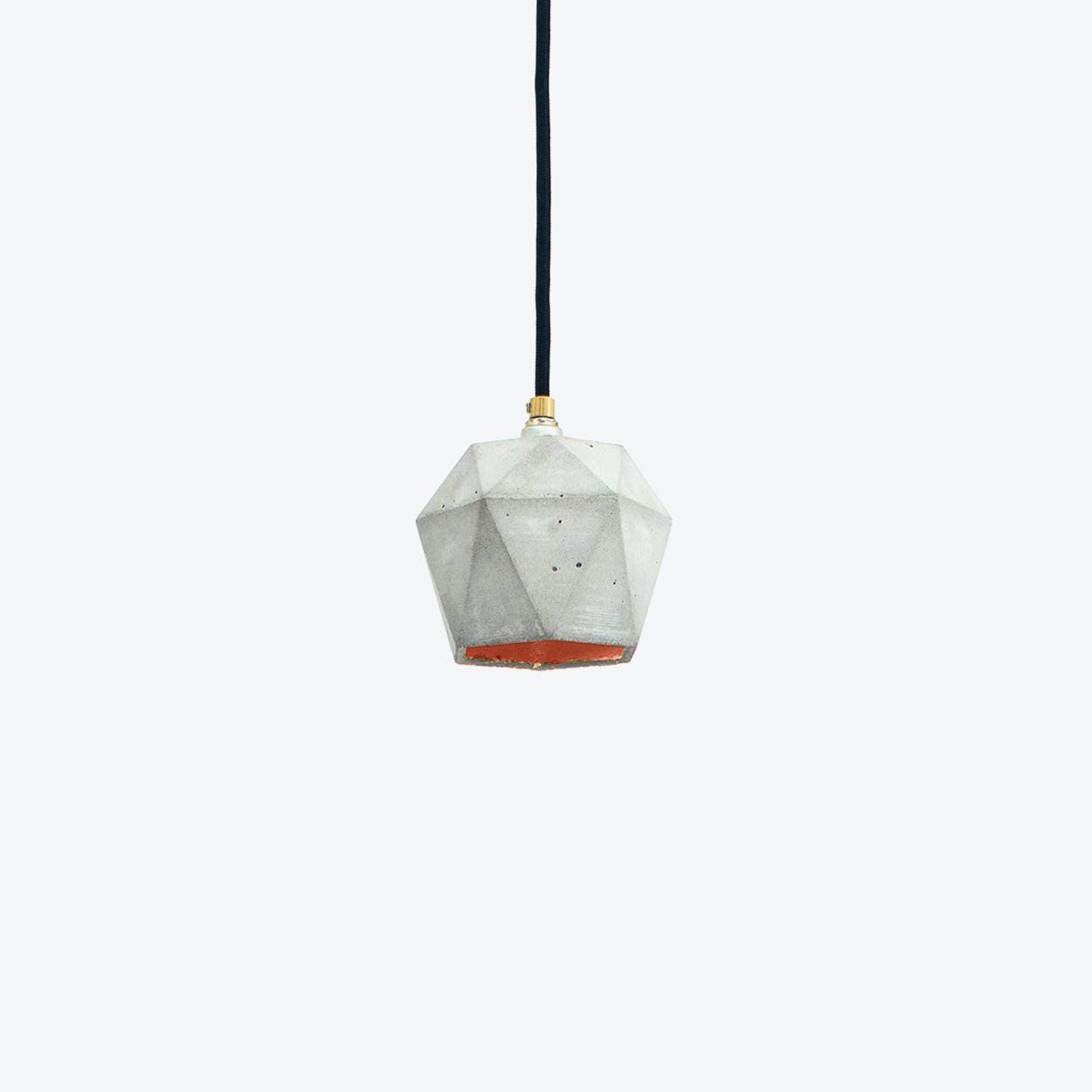 Concrete Pendant Light Triangle Small T2 in Light Grey and Copper