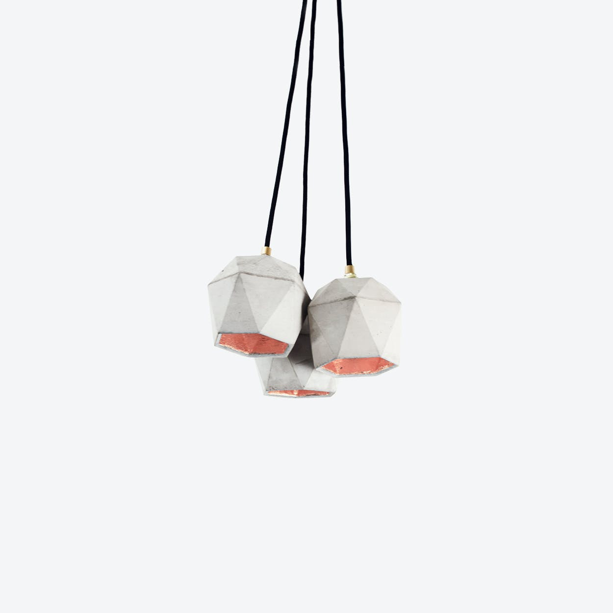 Concrete Bundle Pendant Light Triangle T2 in Light Grey and Copper