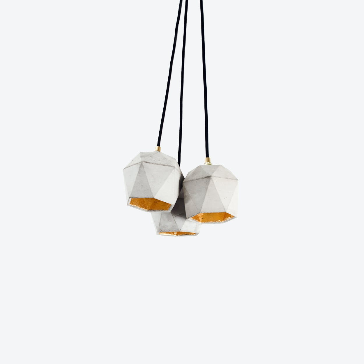 Concrete Bundle Pendant Light Triangle T2 in Light Grey and Gold