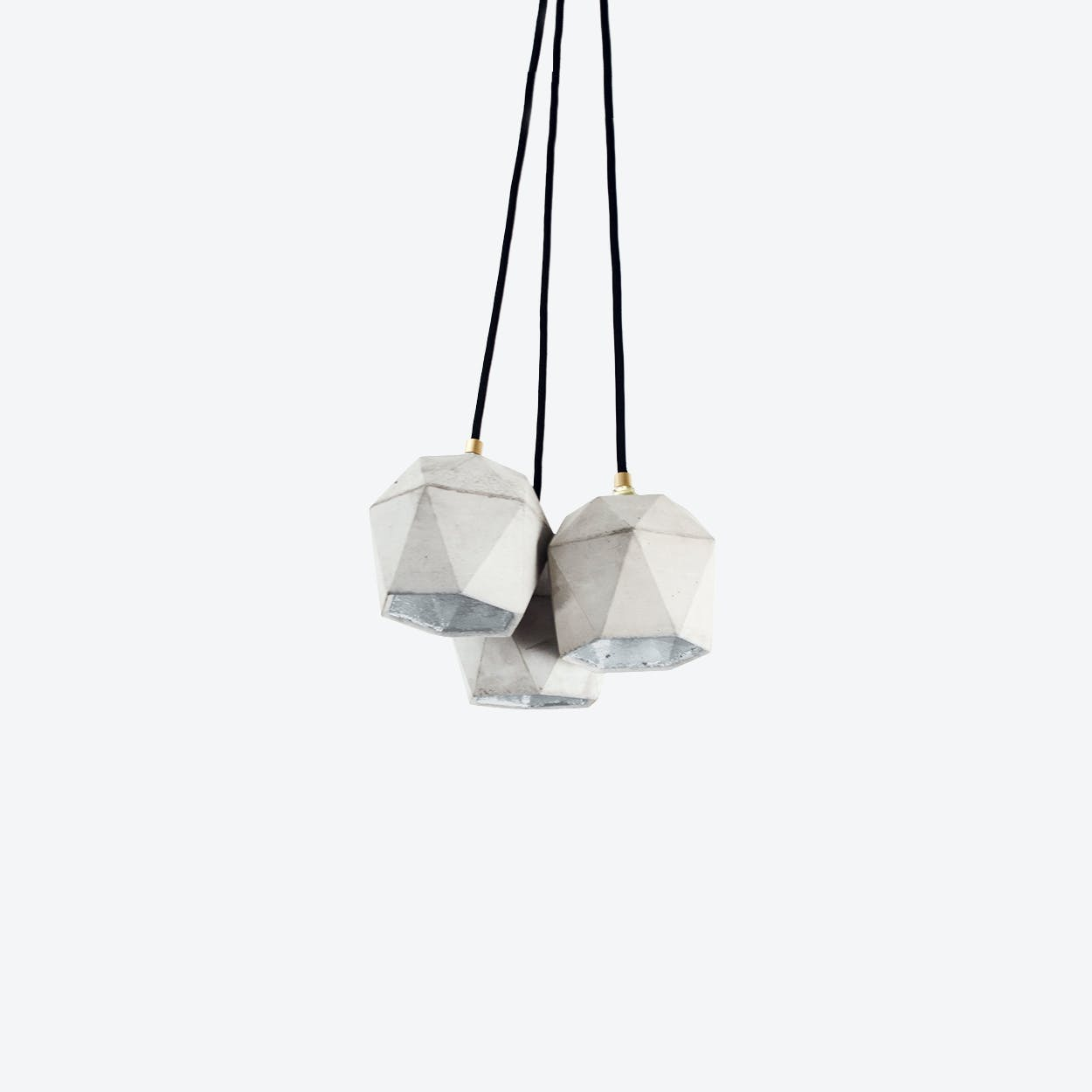 Concrete Bundle Pendant Light Triangle T2 in Light Grey and Silver