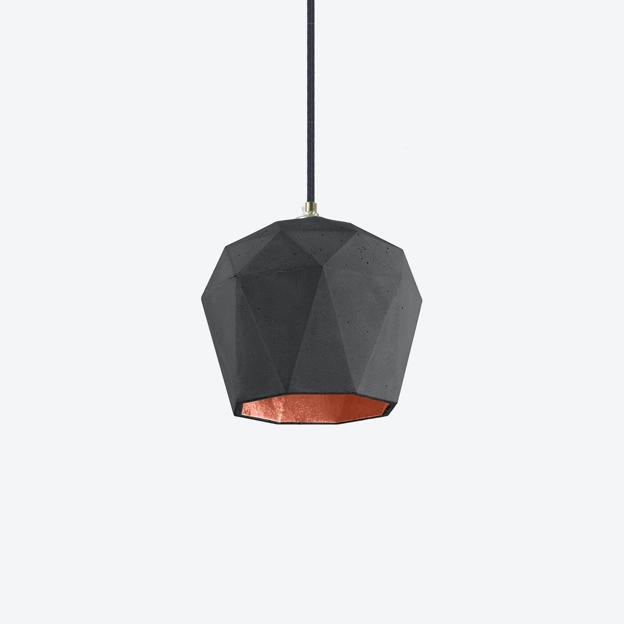 Concrete Pendant Light Triangle T3 in Dark Grey and Copper