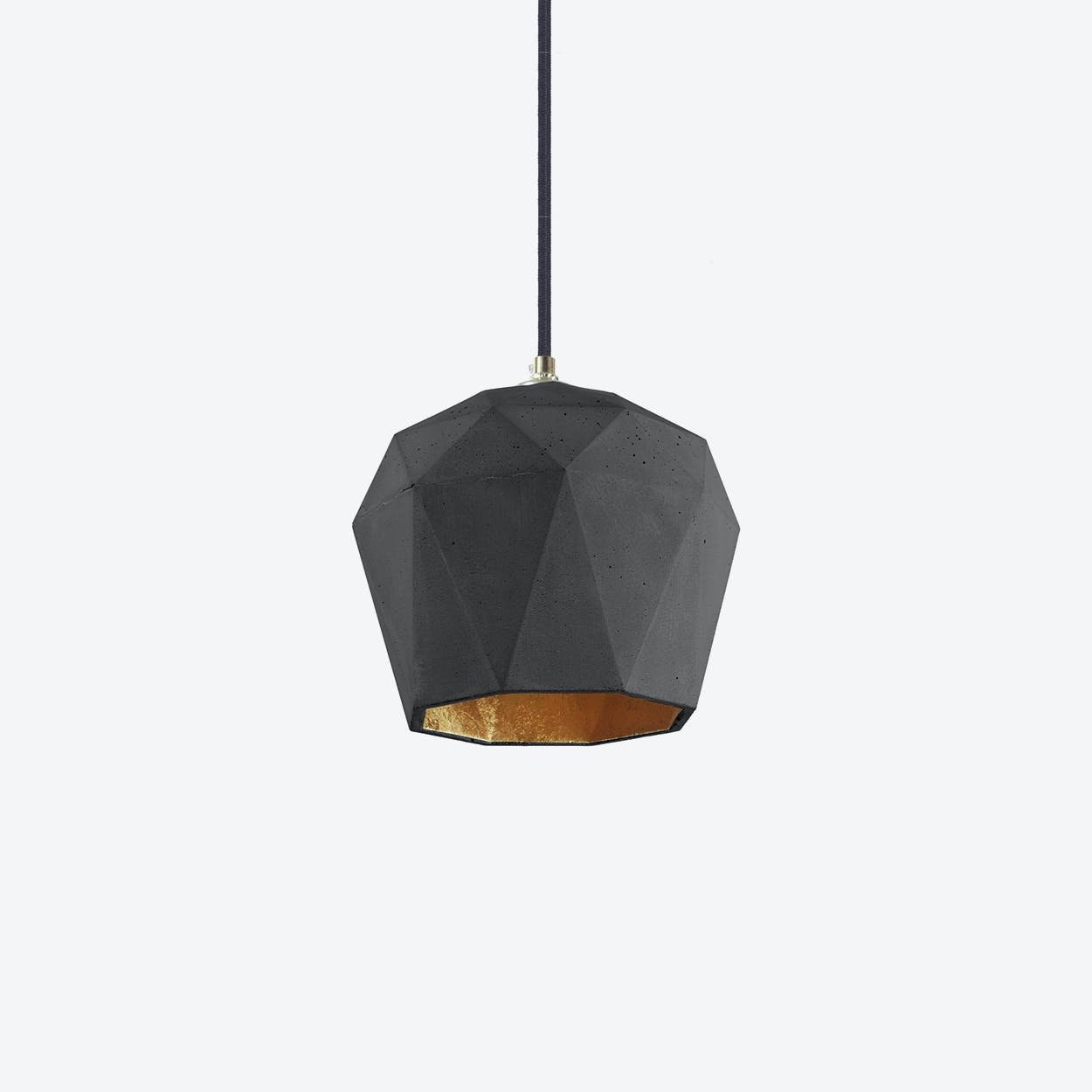 Concrete Pendant Light Triangle T3 in Dark Grey and Gold