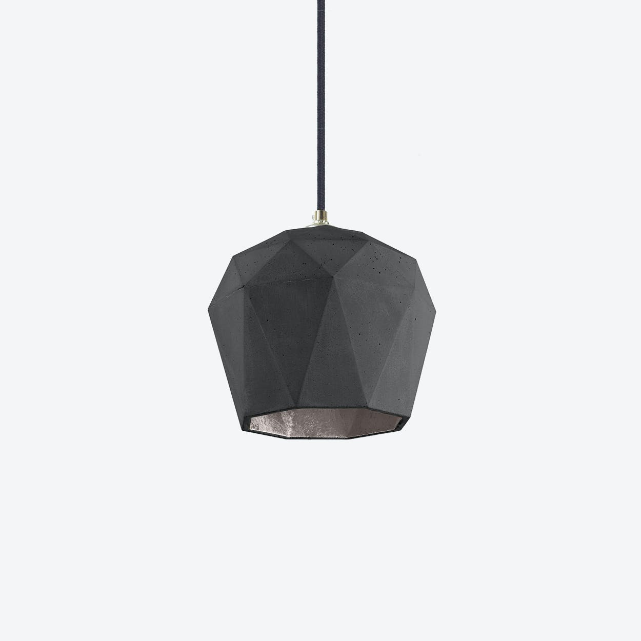 Concrete Pendant Light Triangle T3 in Dark Grey and Silver