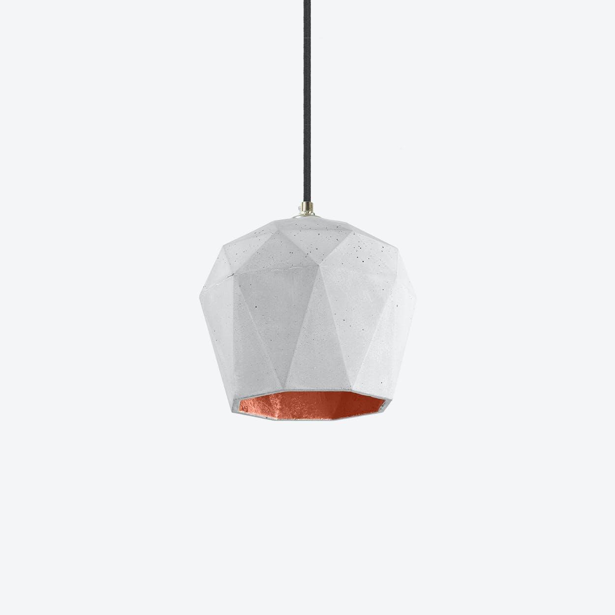 Concrete Pendant Light Triangle T3 in Light Grey and Copper