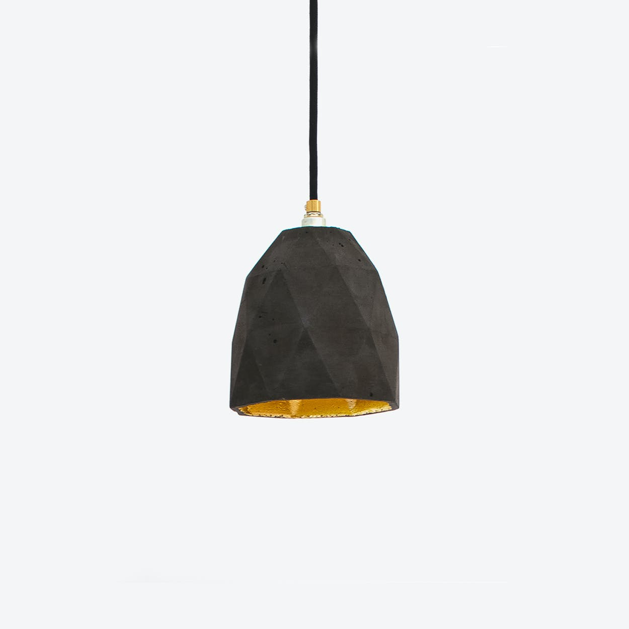 Concrete Pendant Light Triangle T1 in Dark Grey and Gold