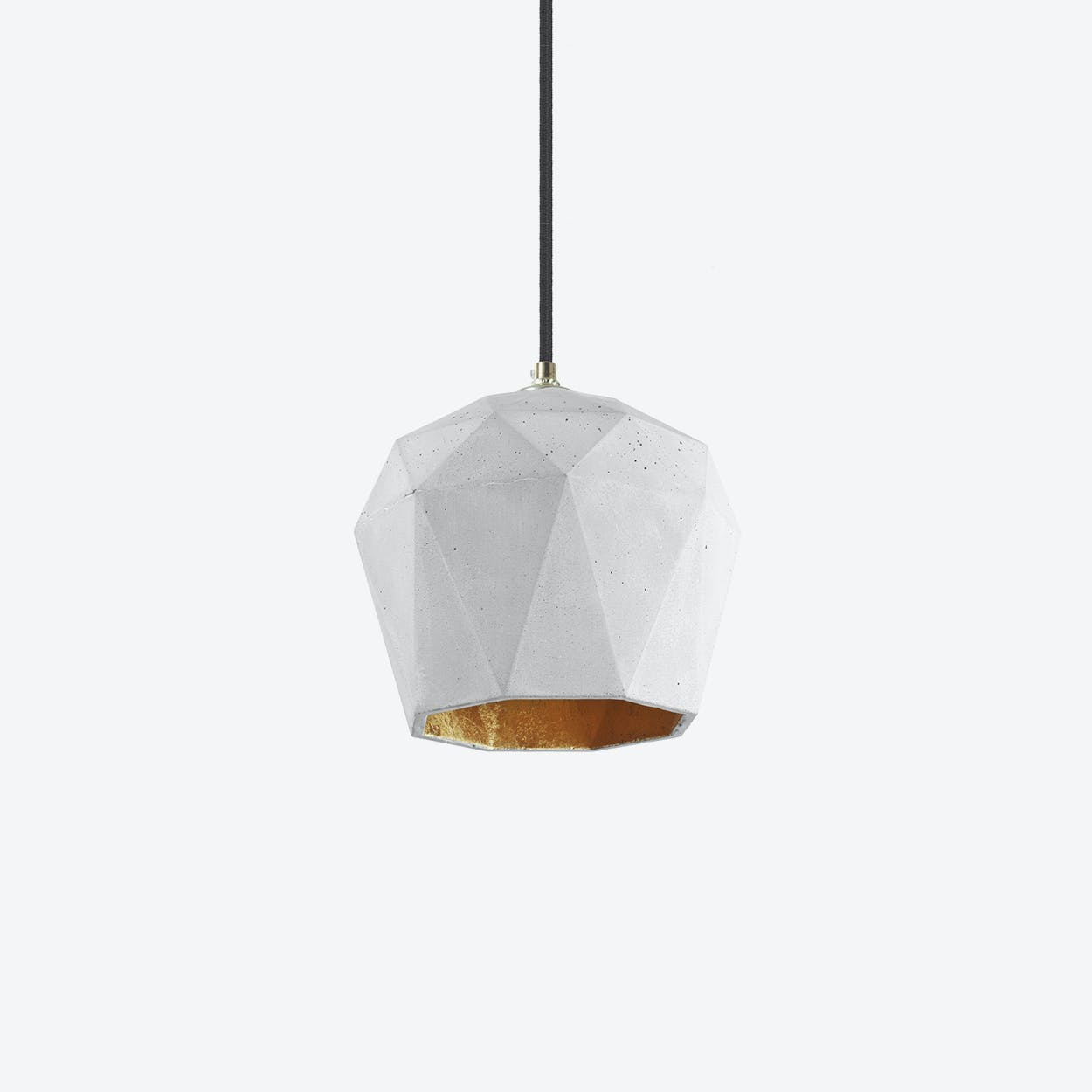 Concrete Pendant Light Triangle T3 in Light Grey and Gold