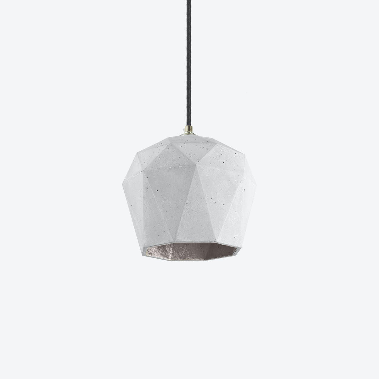 Concrete Pendant Light Triangle T3 in Light Grey and Silver