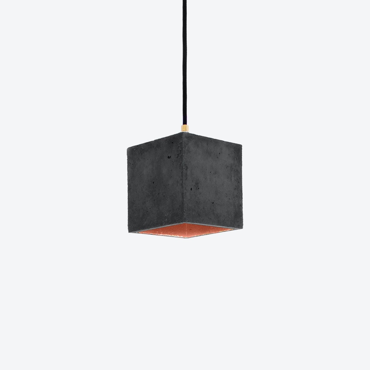 Concrete Pendant Light Cubic B1 in Dark Grey and Copper