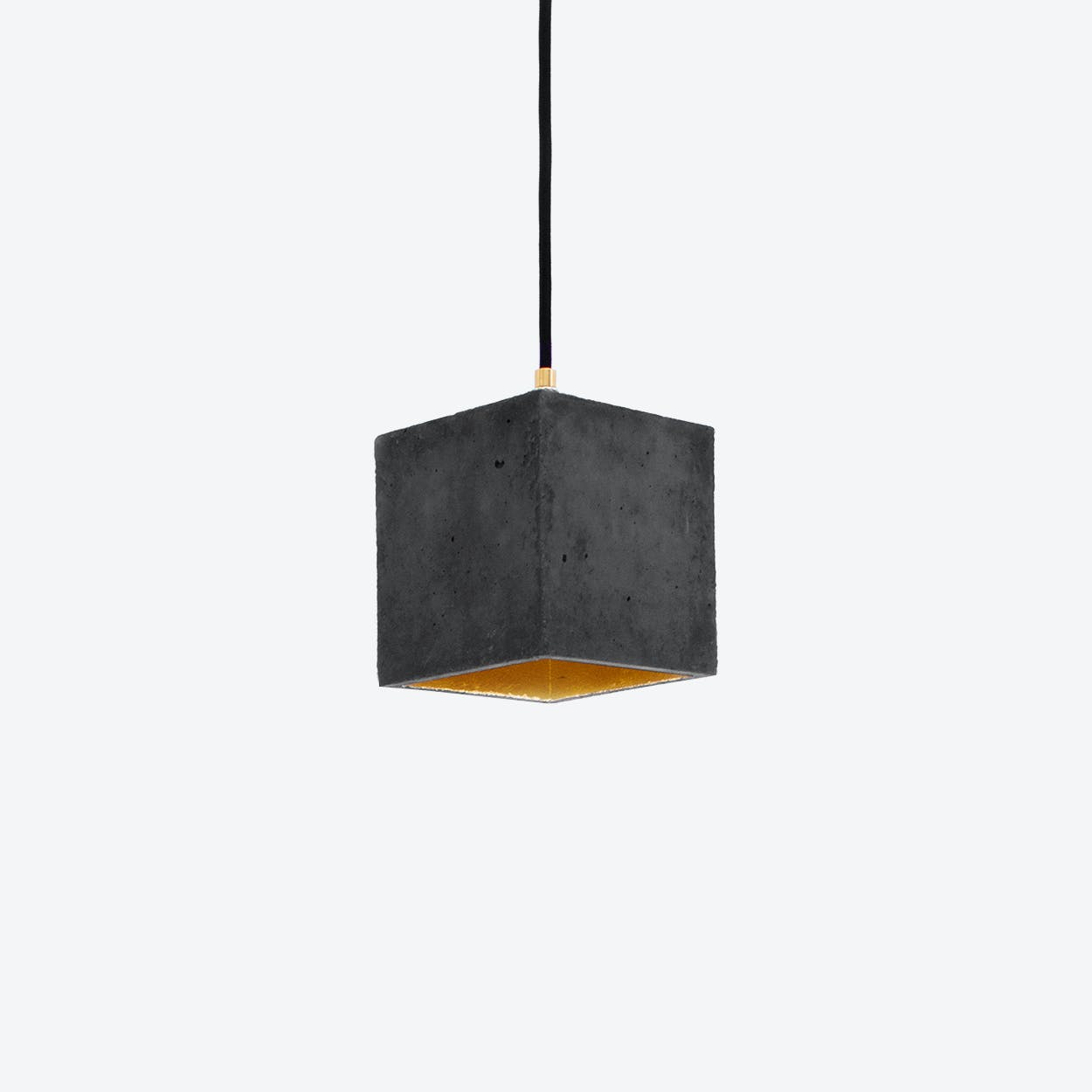 Concrete Pendant Light Cubic B1 in Dark Grey and Gold