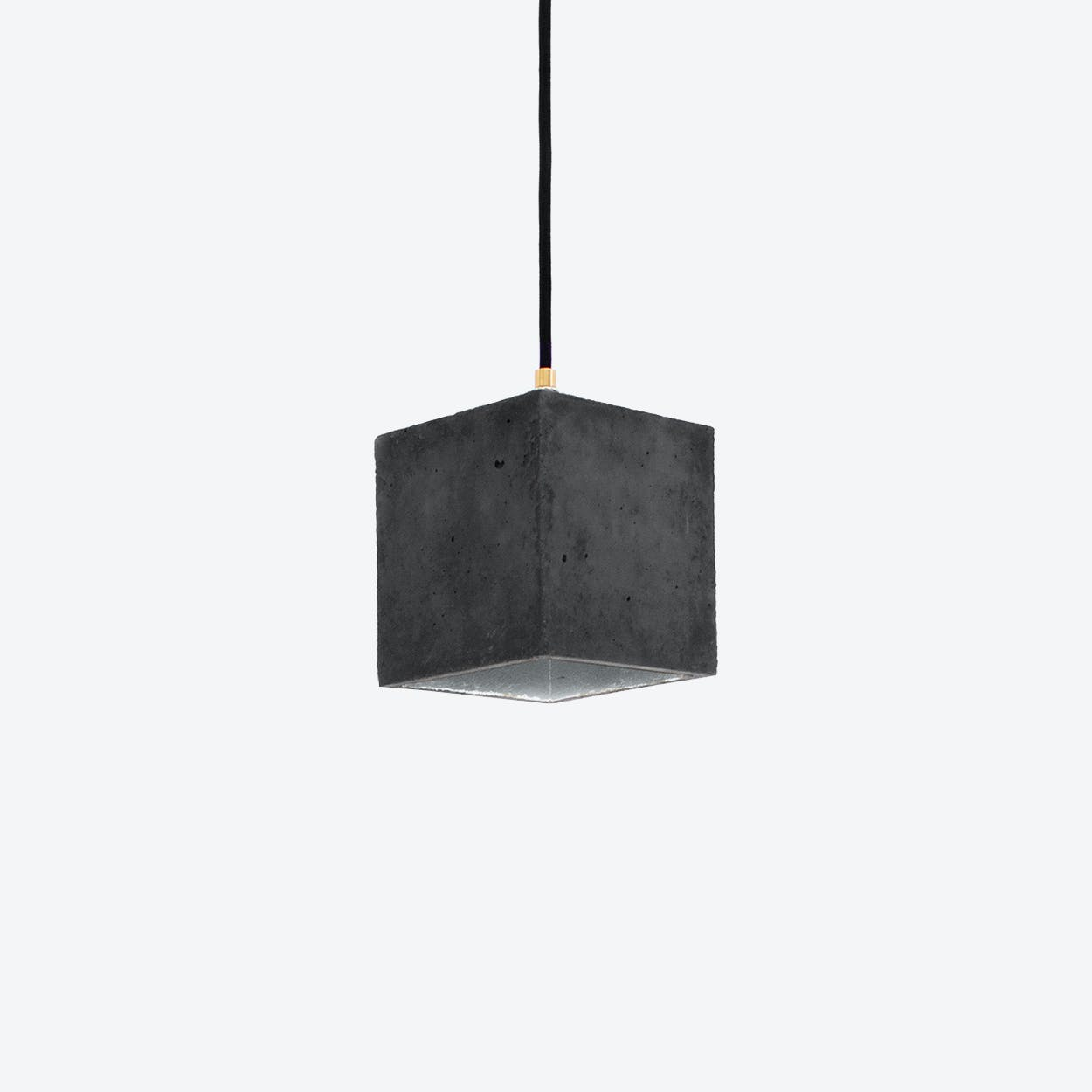 Concrete Pendant Light Cubic B1 in Dark Grey and Silver