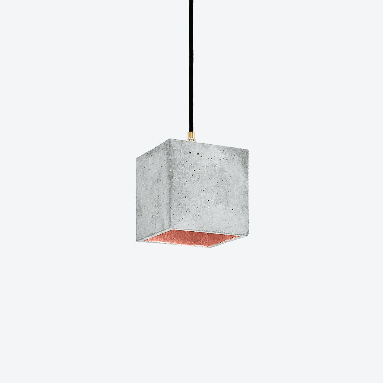 Concrete Pendant Light Cubic B1 in Light Grey and Copper