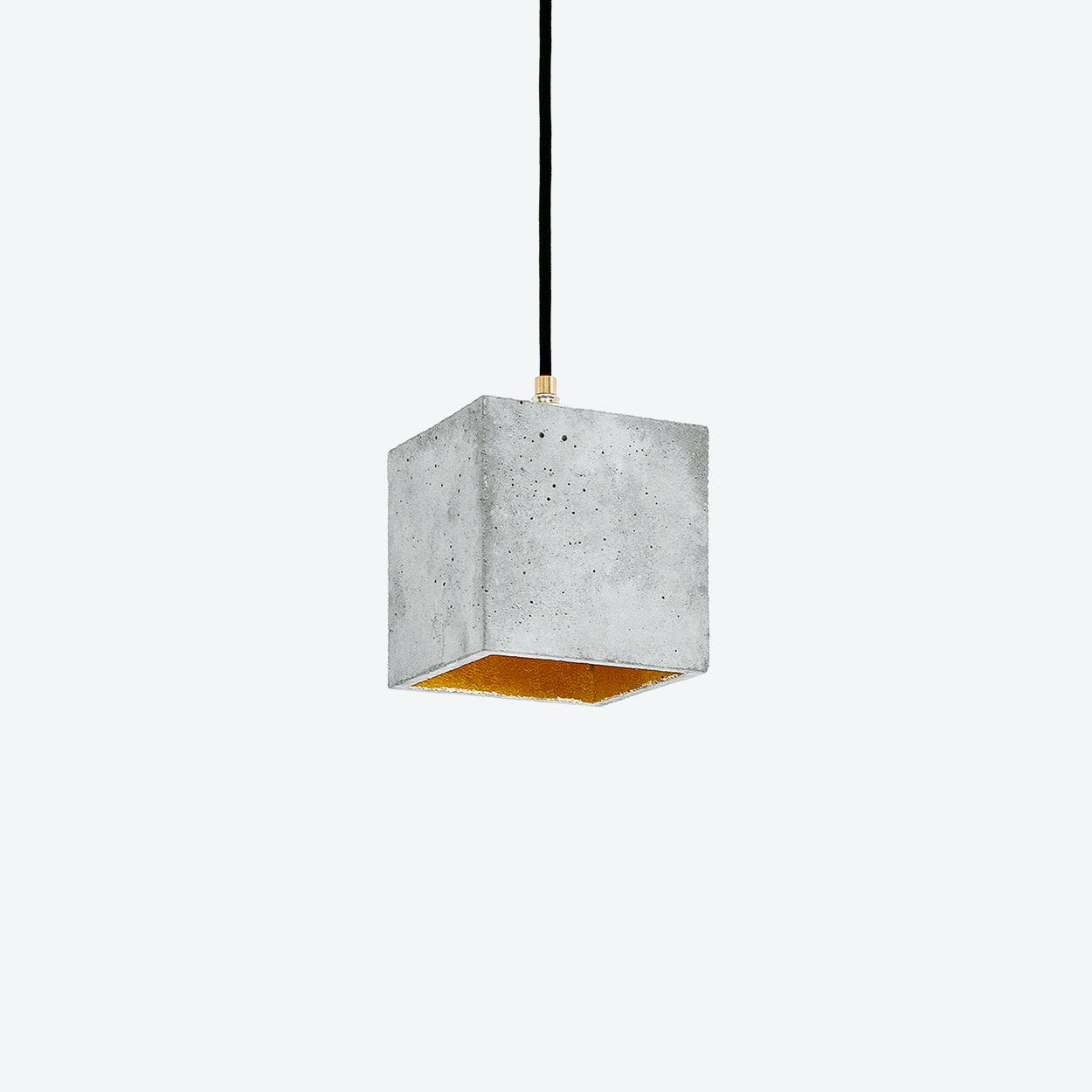 Concrete Pendant Light Cubic B1 in Light Grey and Gold