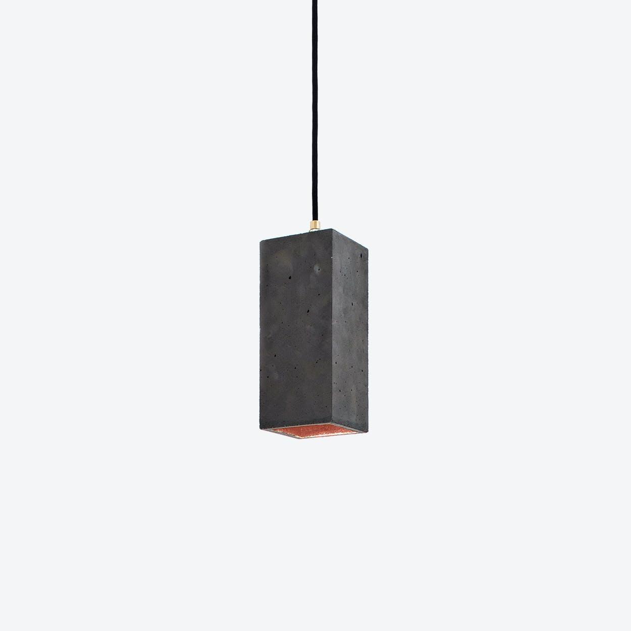 Concrete Pendant Light Retangular B2 in Dark Grey and Copper