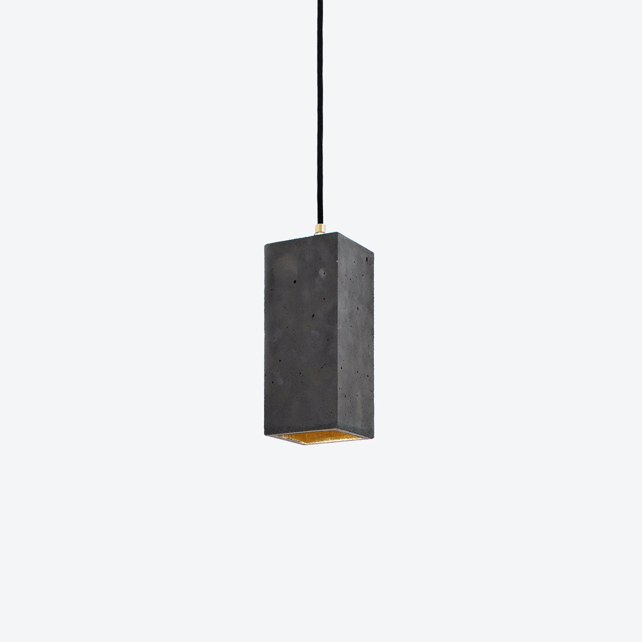 Concrete Pendant Light Retangular B2 in Dark Grey and Gold