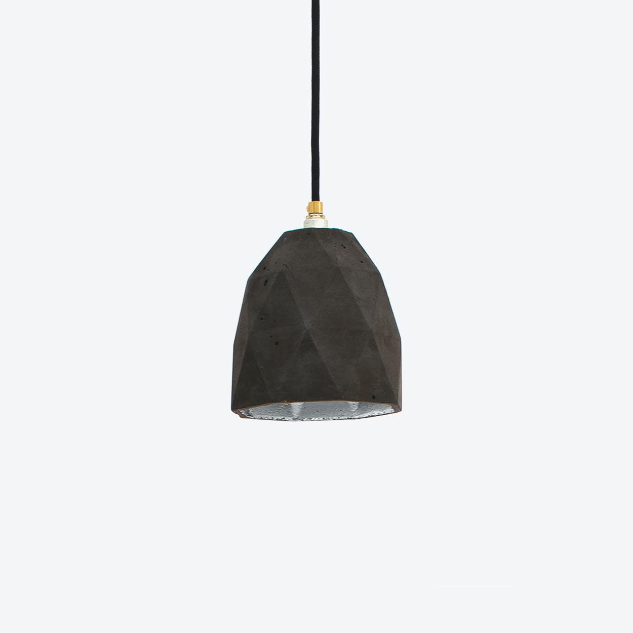 Concrete Pendant Light Triangle T1 in Dark Grey and Silver