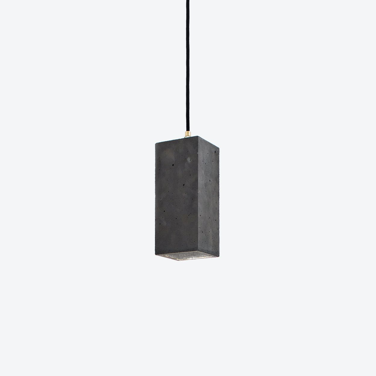 Concrete Pendant Light Retangular B2 in Dark Grey and Silver