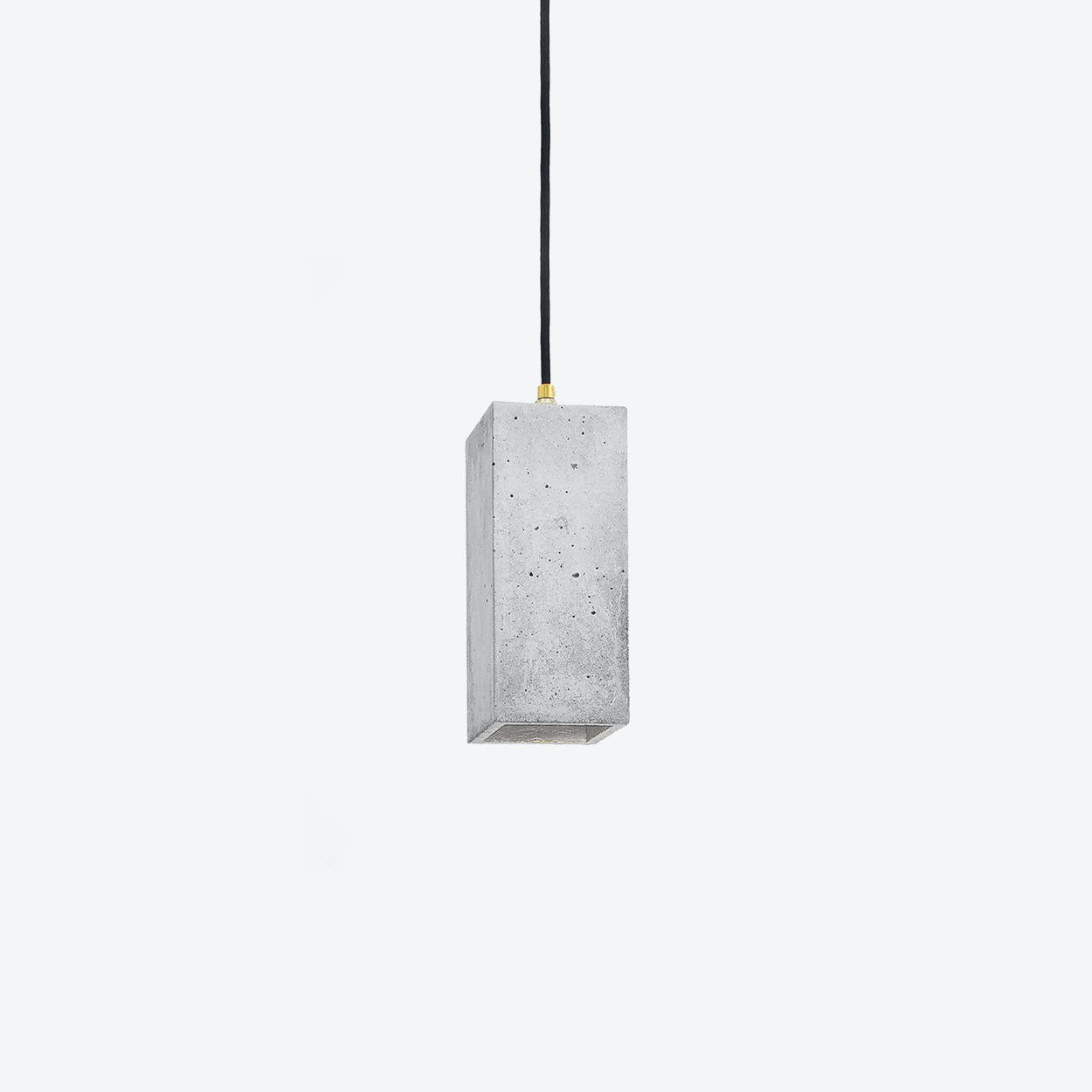 Concrete Pendant Light Retangular B2 in Light Grey and Silver