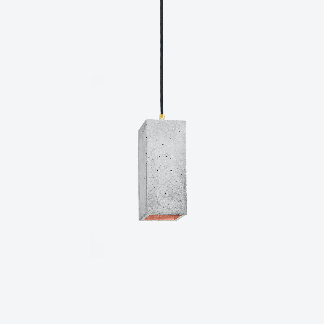 Concrete Pendant Light Retangular B2 in Light Grey and Copper