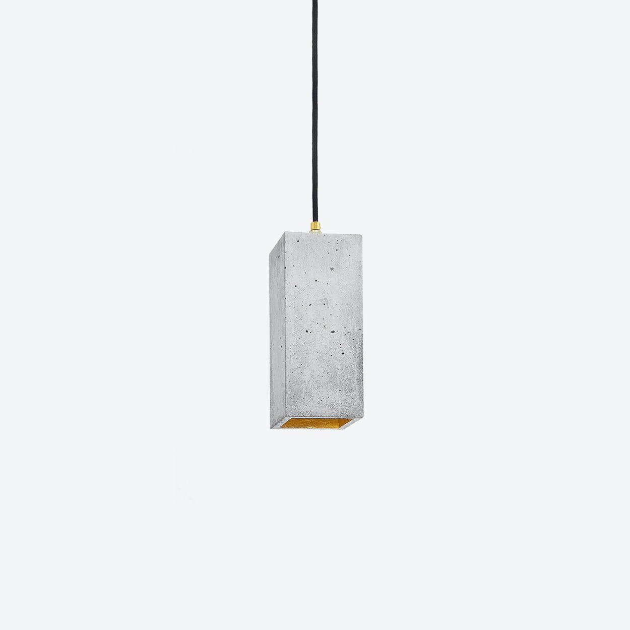 Concrete Pendant Light Retangular B2 in Light Grey and Gold