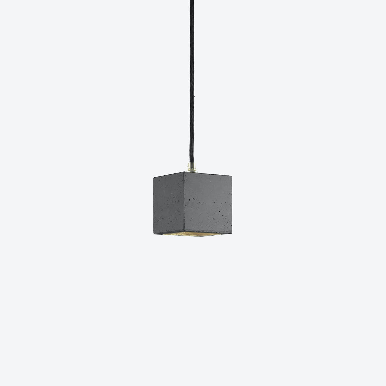 Concrete Pendant Light Cubic Small B6 in Dark Grey and Gold