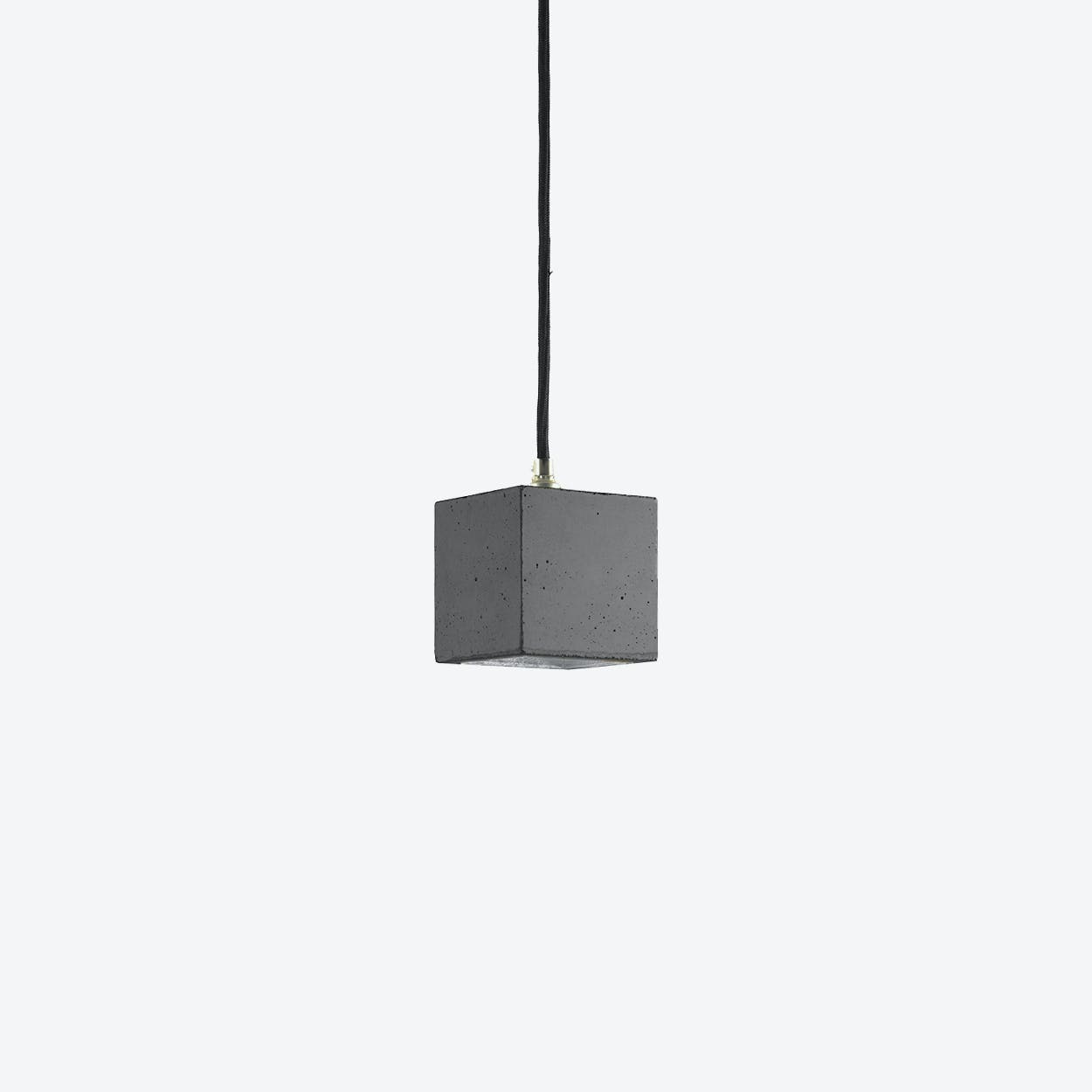 Concrete Pendant Light Cubic Small B6 in Dark Grey and Silver