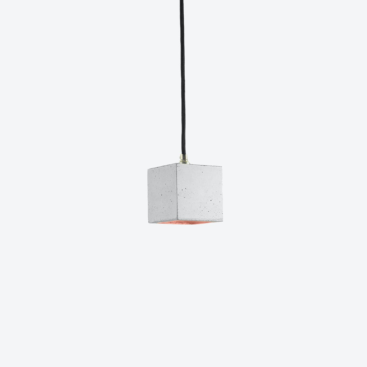 Concrete Pendant Light Cubic Small B6 in Light Grey and Copper