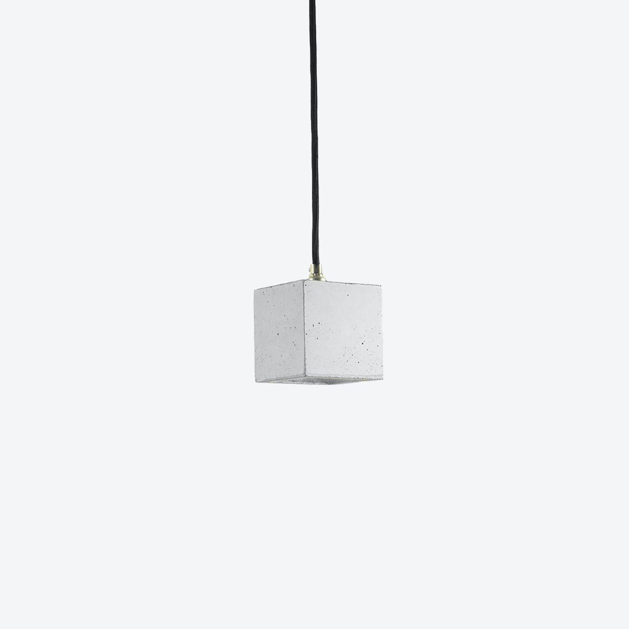 Concrete Pendant Light Cubic Small B6 in Light Grey and Silver