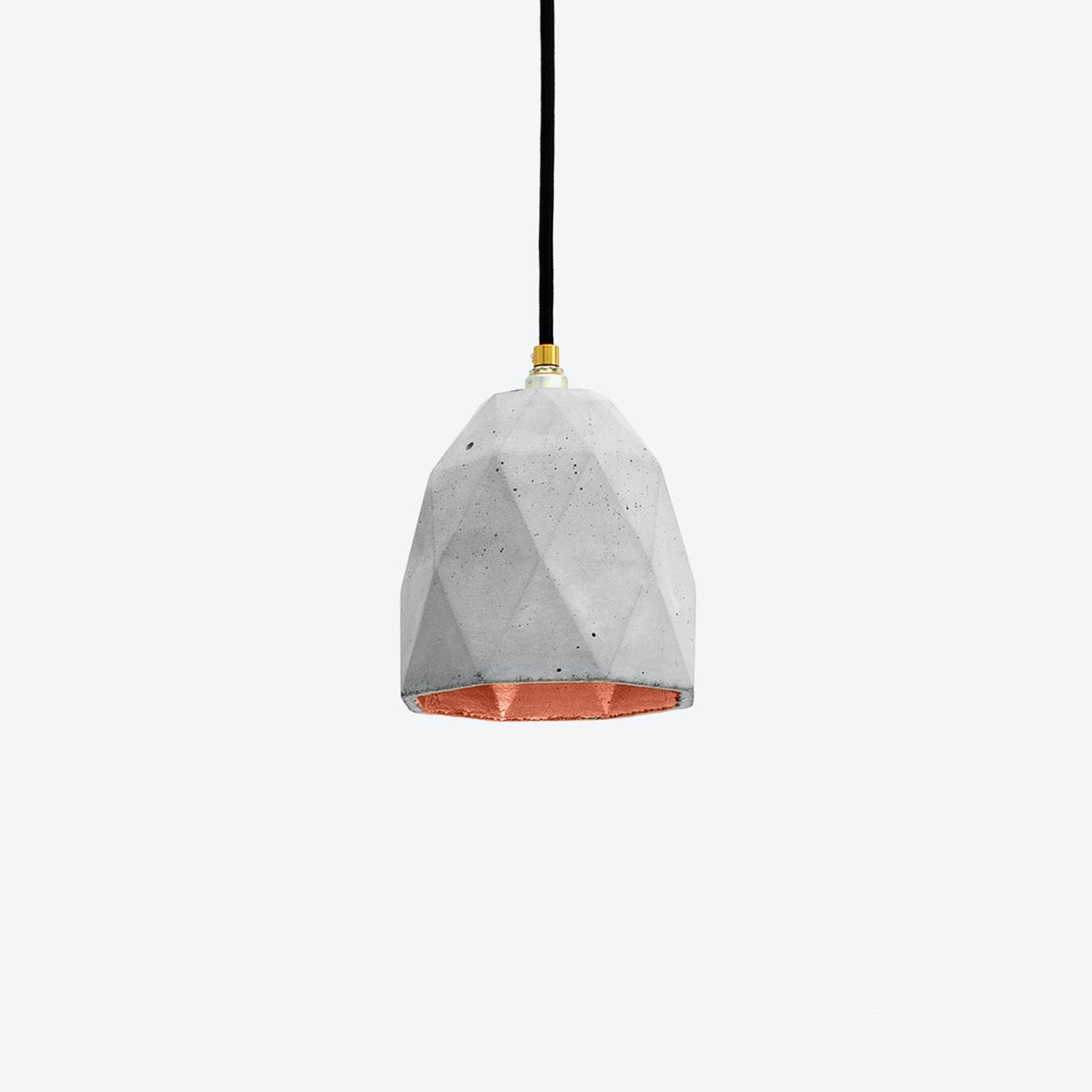 Concrete Pendant Light Triangle T1 in Light Grey and Copper
