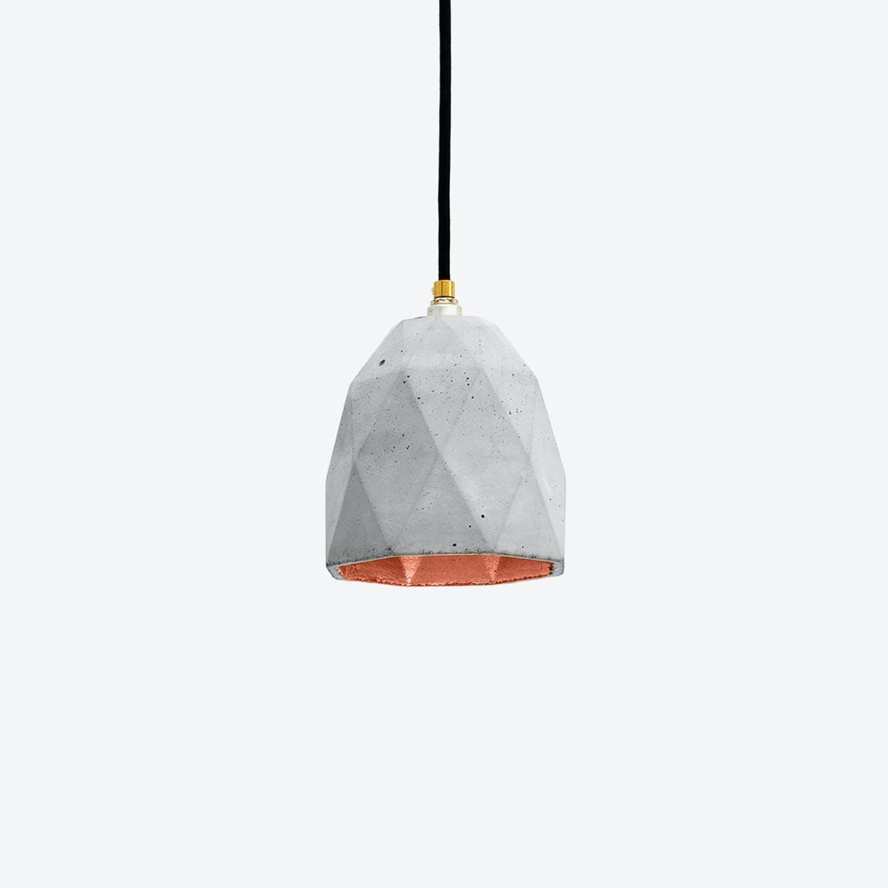 Concrete Pendant Light Triangle T1 in Light Grey and Copper