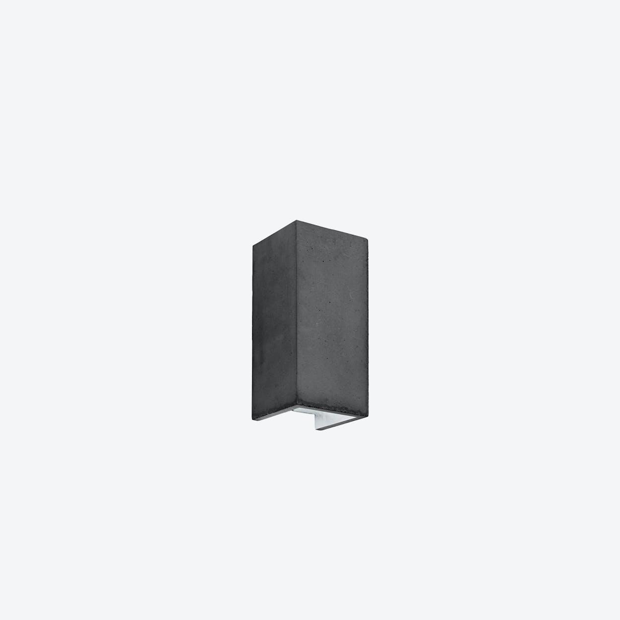 Concrete Wall Light Retangular B8 in Dark Grey and Silver