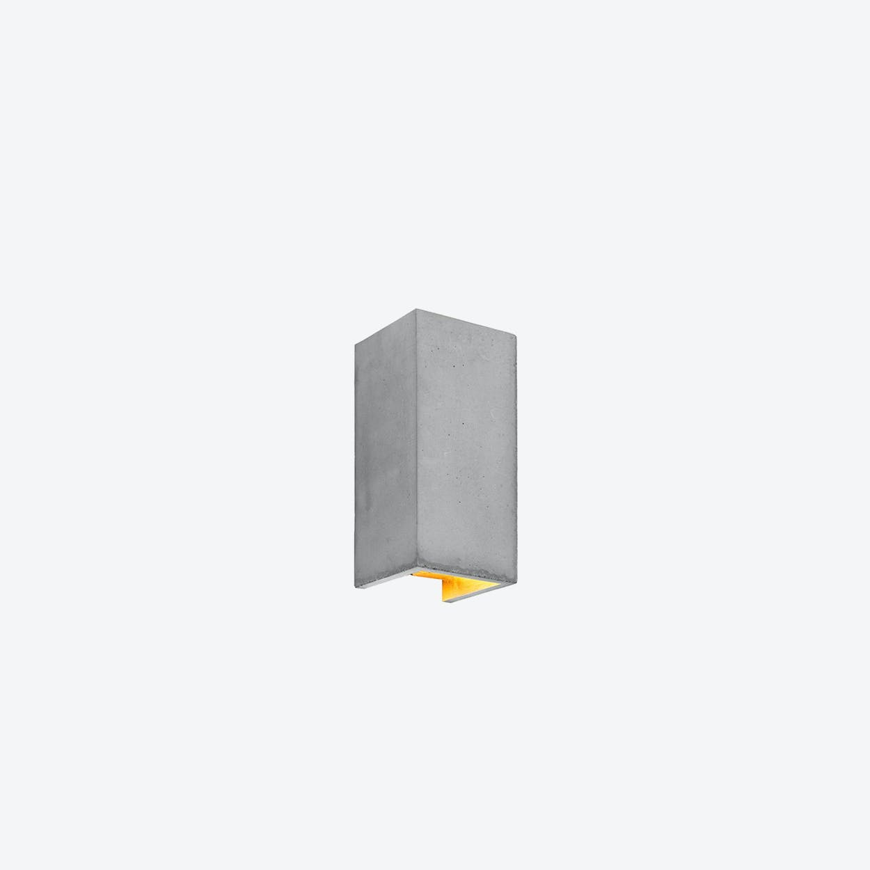Concrete Wall Light Rectangular B8 in Light Grey and Gold