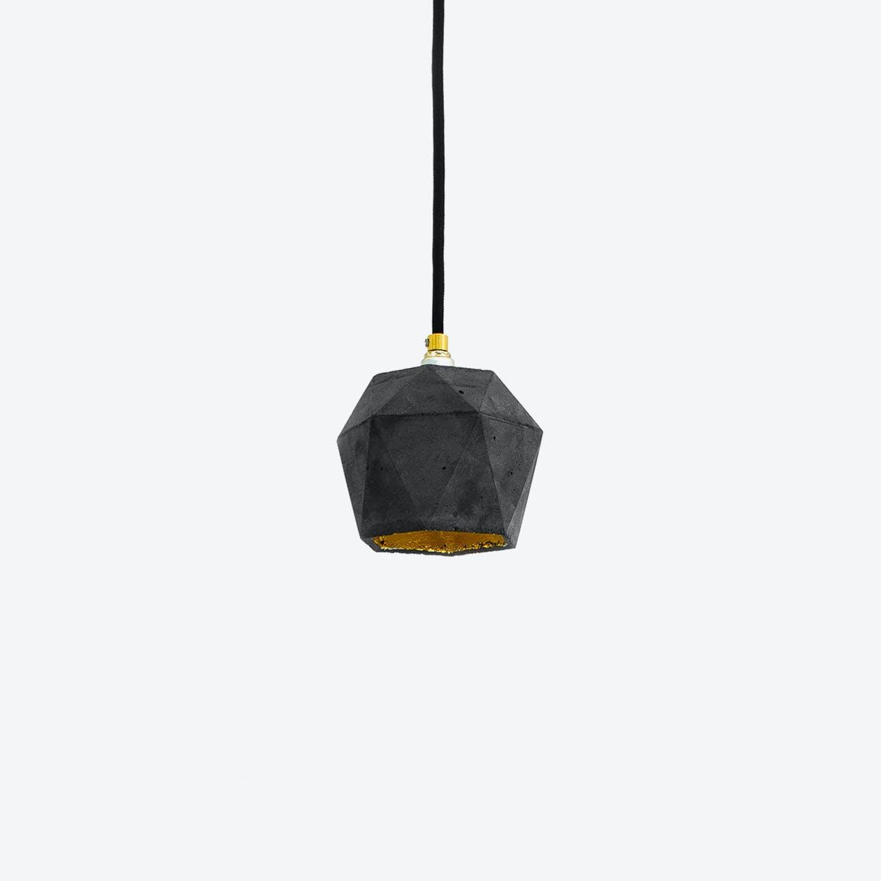 Concrete Pendant Light Triangle Small T2 in Dark Grey and Gold