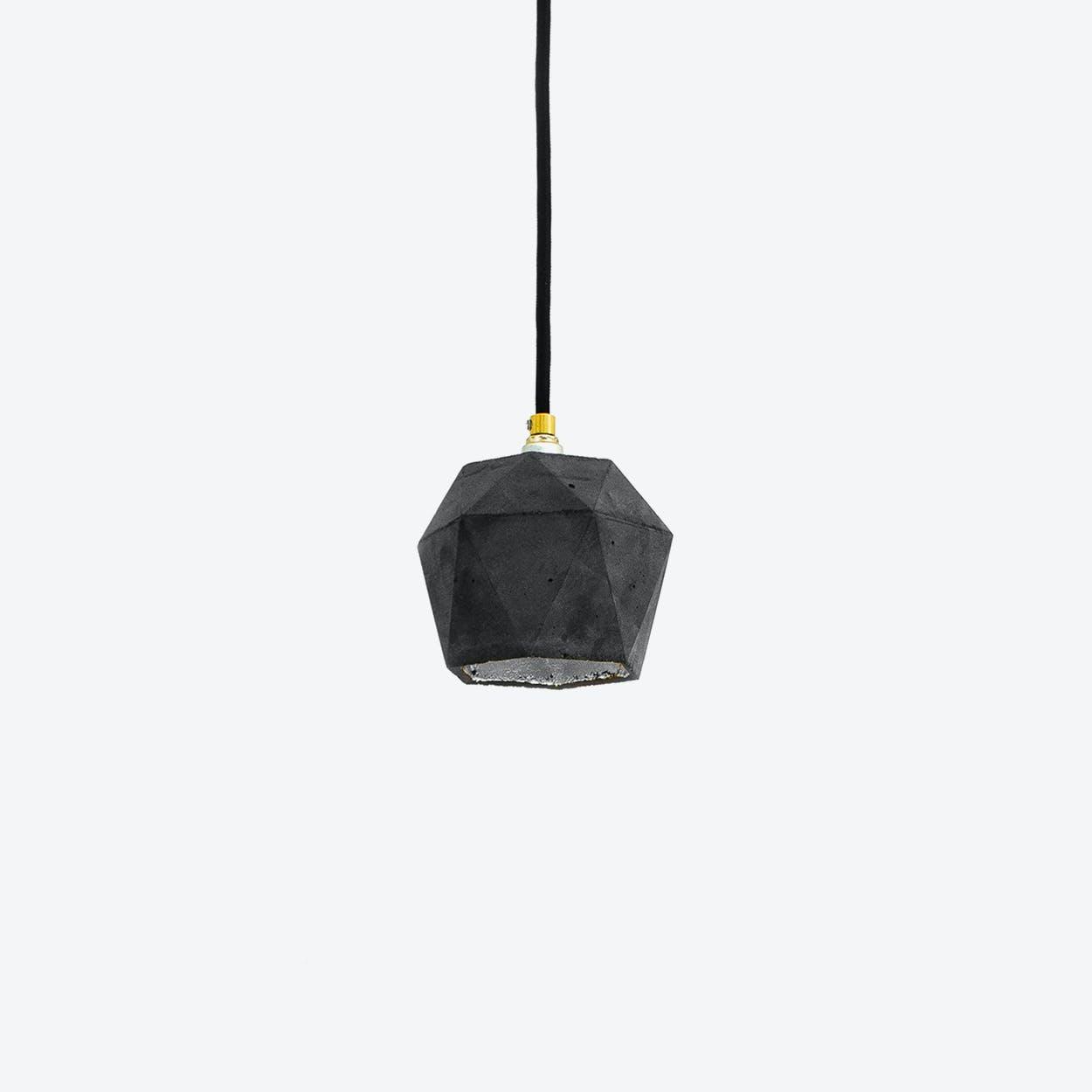 Concrete Pendant Light Triangle Small T2 in Dark Grey and Silver