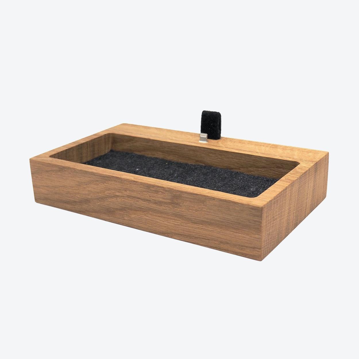 Oak IPhone Dock With Organizer By Oakywood