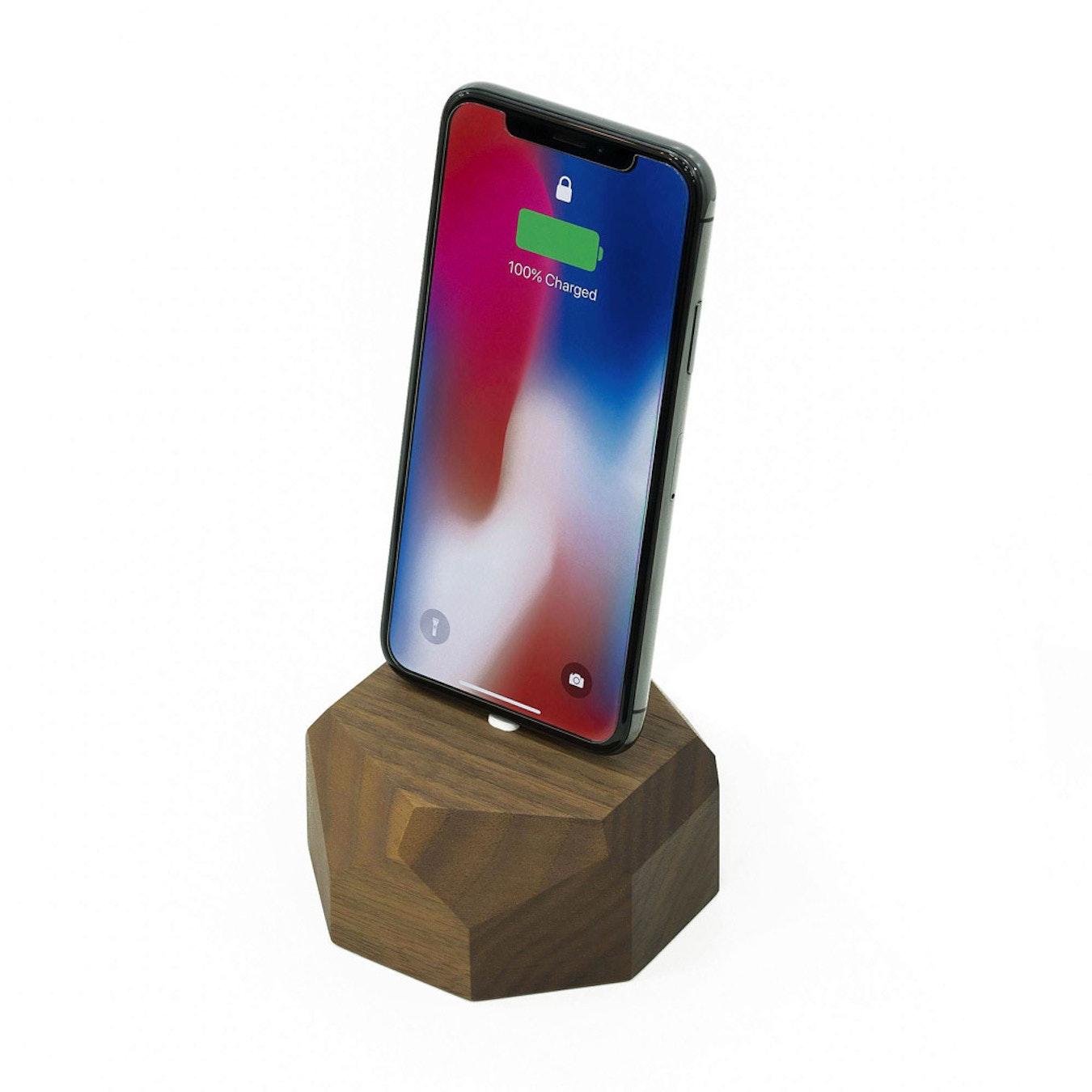 Walnut IPhone Dock Polygonal By Oakywood