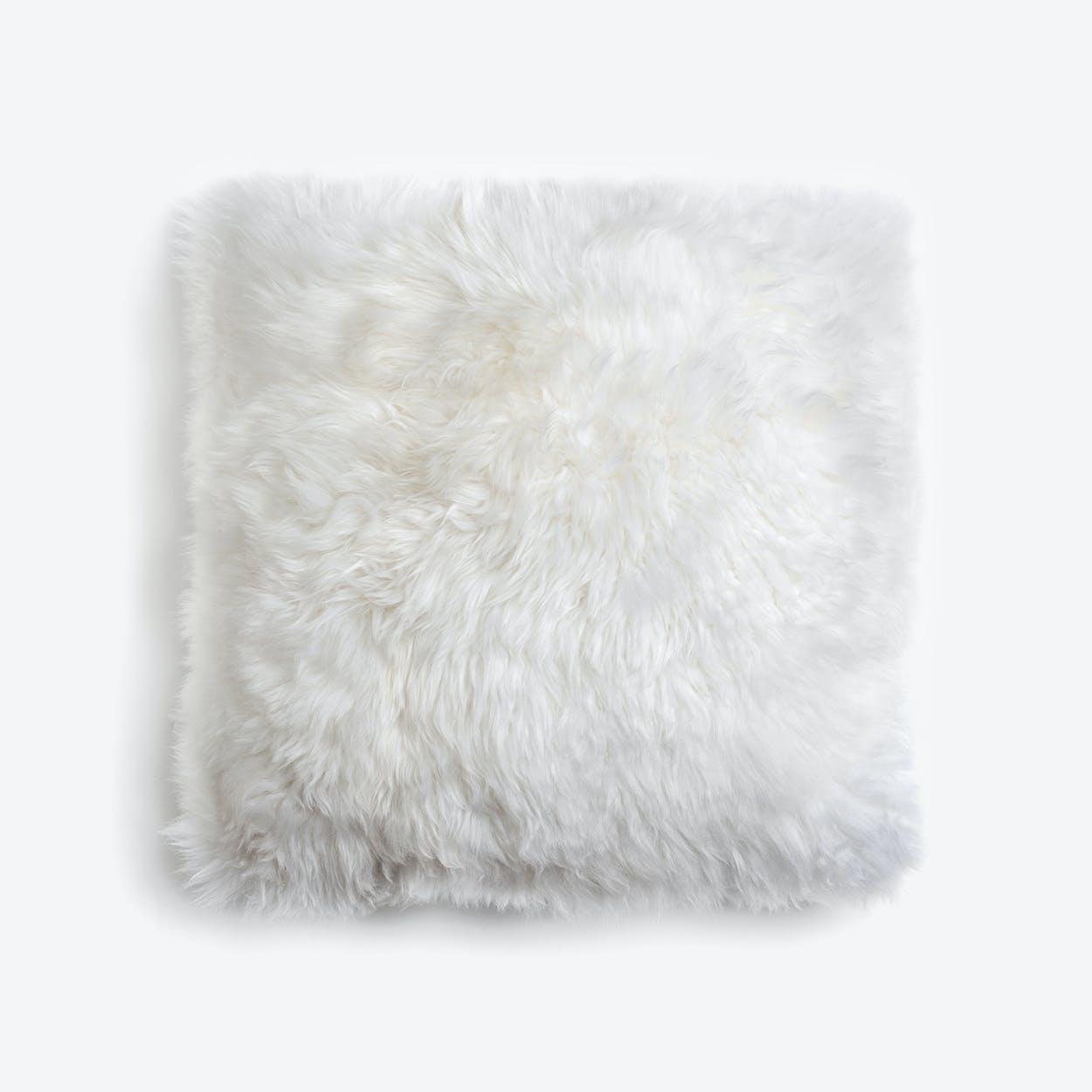 New Zealand Sheepskin Cushion in Natural White